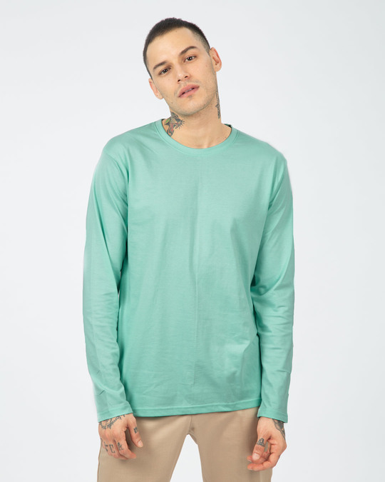 Shop Aqua Green Full Sleeve T-Shirt-Back