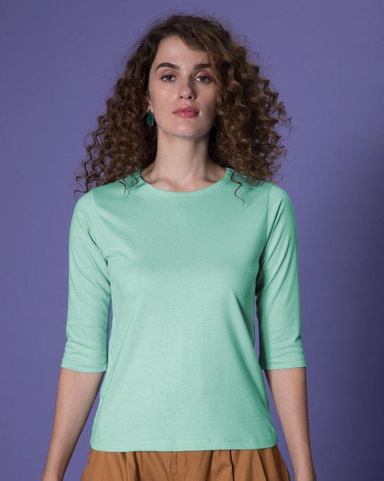 Shop Aqua Green Round Neck 3/4th Sleeve T-Shirt-Back