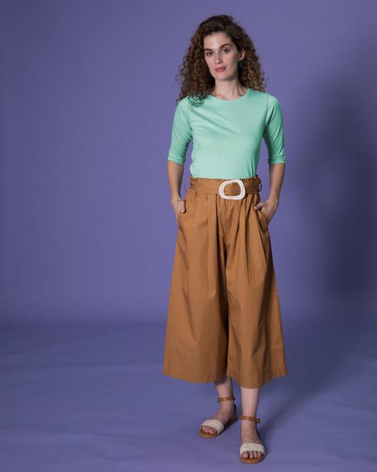 Shop Aqua Green Round Neck 3/4th Sleeve T-Shirt