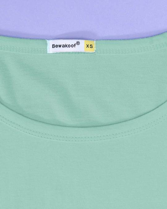 Shop Aqua Green Scoop Neck Full Sleeve T-Shirt