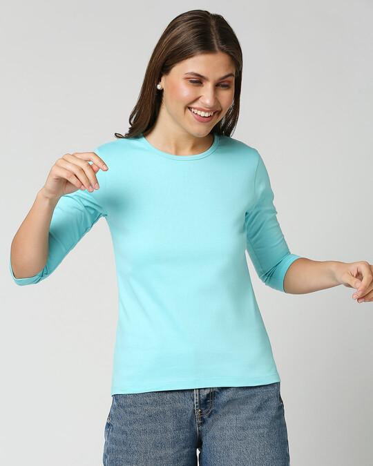 Shop Beach Blue 3/4th Sleeve T-Shirt-Front