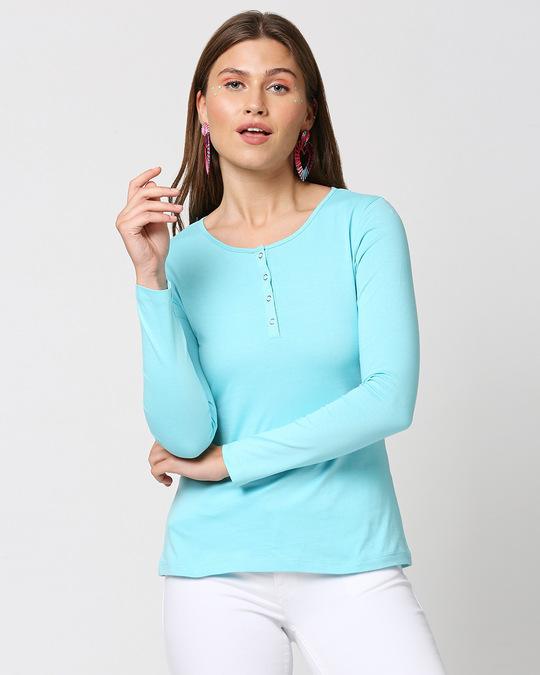 Shop Beach Blue Full Sleeve Henley T-Shirt-Front
