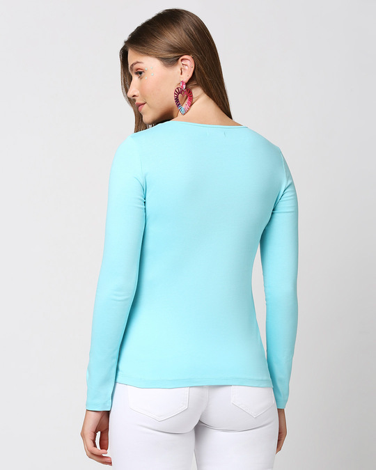 Shop Beach Blue Full Sleeve Henley T-Shirt-Full