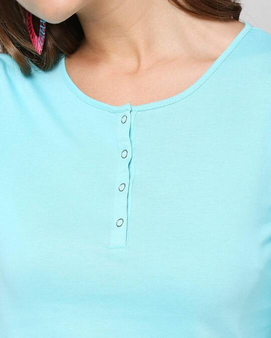 Shop Beach Blue Full Sleeve Henley T-Shirt
