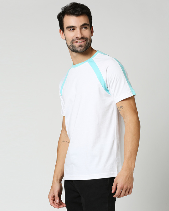 Shop Beach Blue Half Sleeves Raglan T -Shirt-Design
