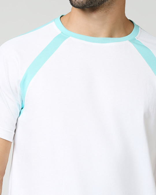 Shop Beach Blue Half Sleeves Raglan T -Shirt