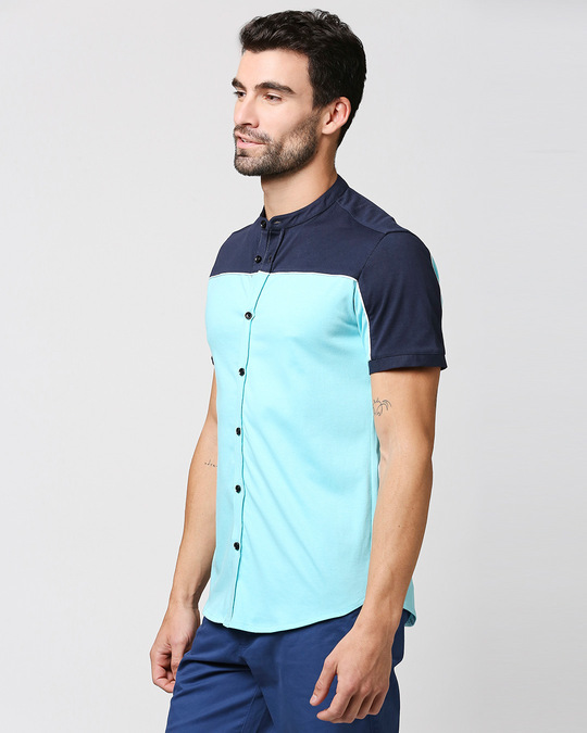 Shop Beach Blue Mandarin Collar Shirt-Design