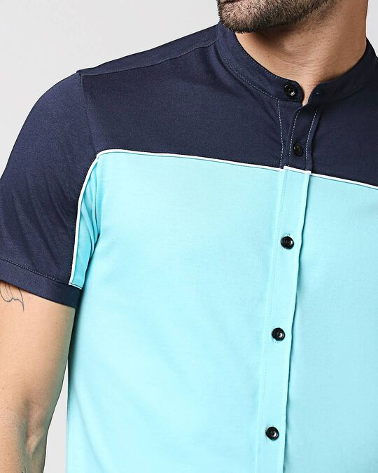 Shop Beach Blue Mandarin Collar Shirt