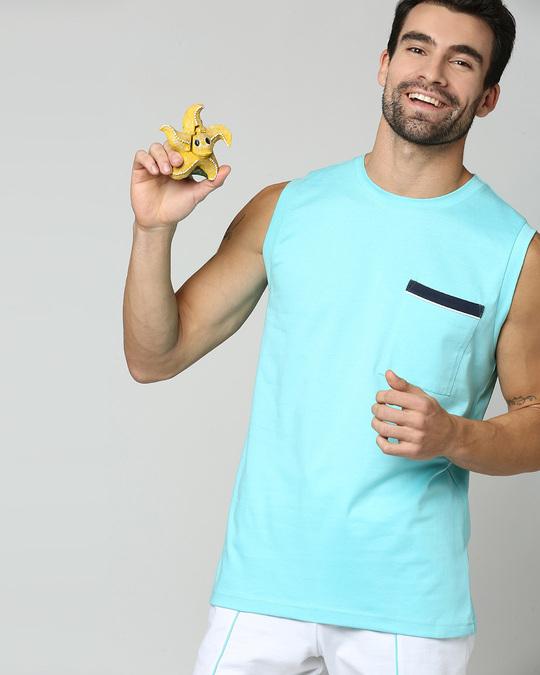 Shop Beach Blue Pocket Vest-Back