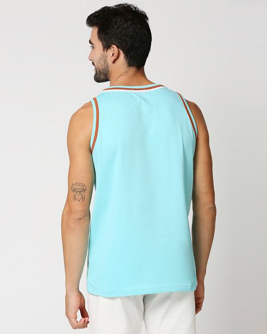 Shop Beach Blue Round Neck Vest-Full