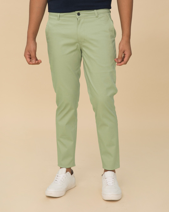 Shop Arca Green Slim Fit Cotton Chino Pants-Front