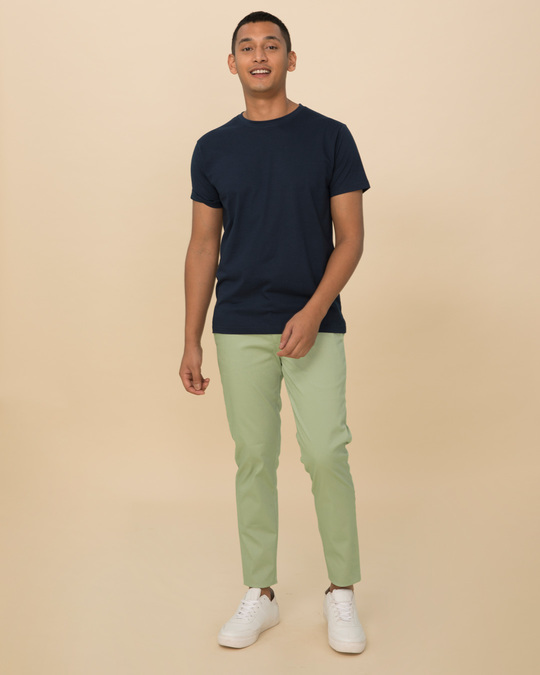 Shop Arca Green Slim Fit Cotton Chino Pants-Full