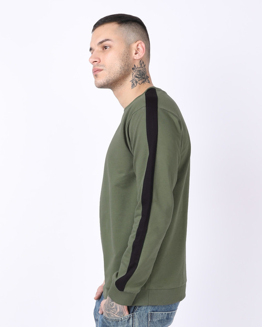 Shop Army Green-Black Contrast Panelled Crew Neck Sweatshirt-Design