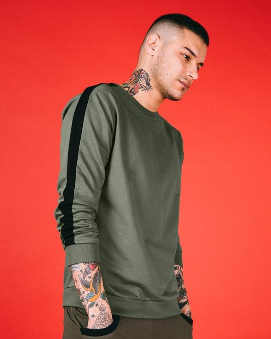 Shop Army Green-Black Contrast Panelled Crew Neck Sweatshirt-Front