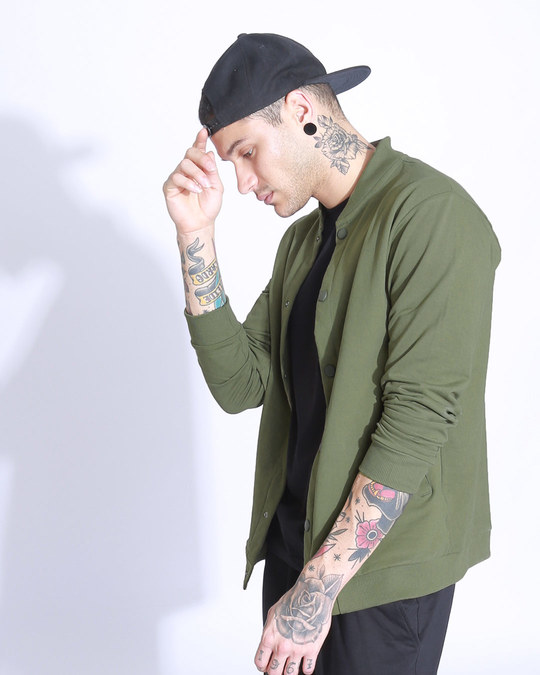 Shop Army Green Buttoned Bomber Jacket-Back