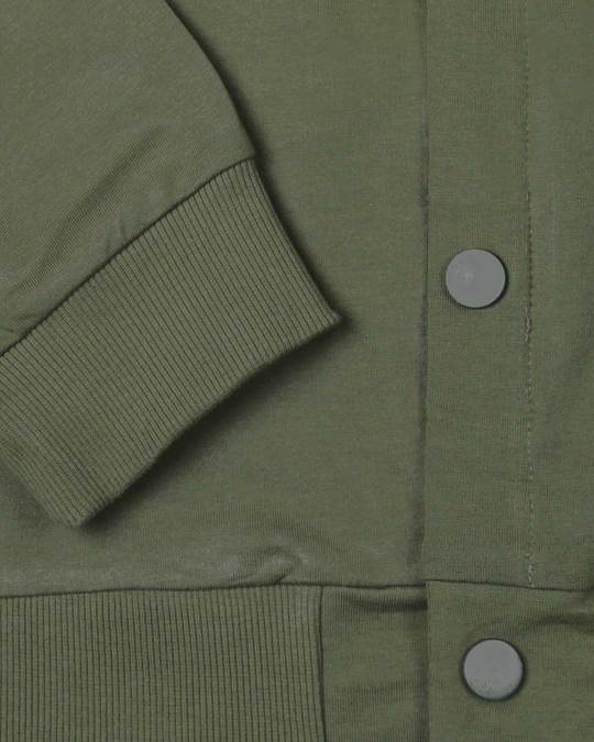 Shop Army Green Buttoned Bomber Jacket