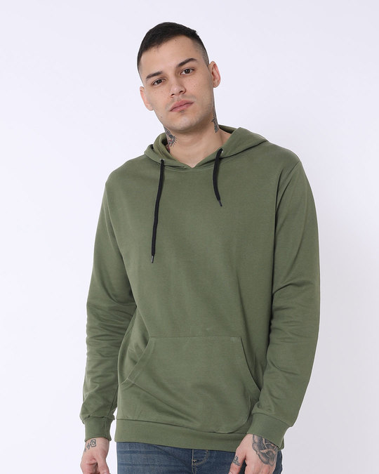 Shop Army Green Fleece Hoodies-Front