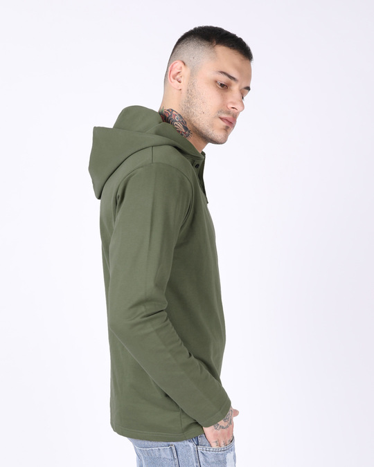 Shop Army Green Plain Henley Hoodies-Back