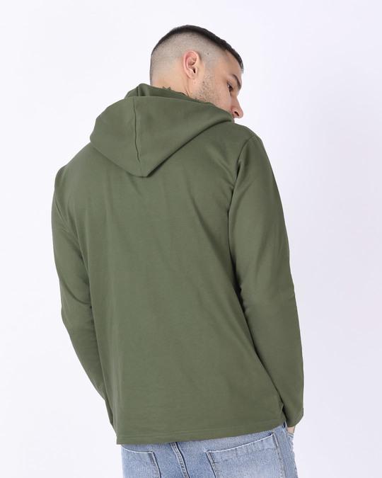 Shop Army Green Plain Henley Hoodies-Design