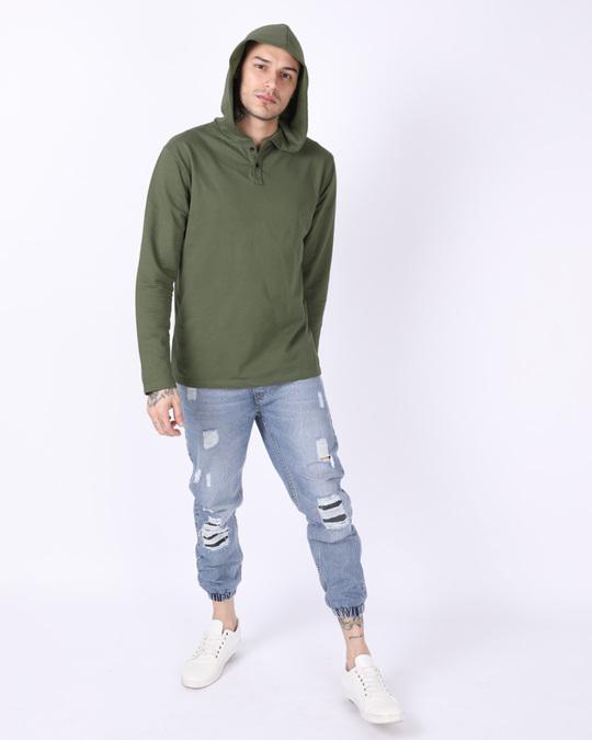 Shop Army Green Plain Henley Hoodies-Full