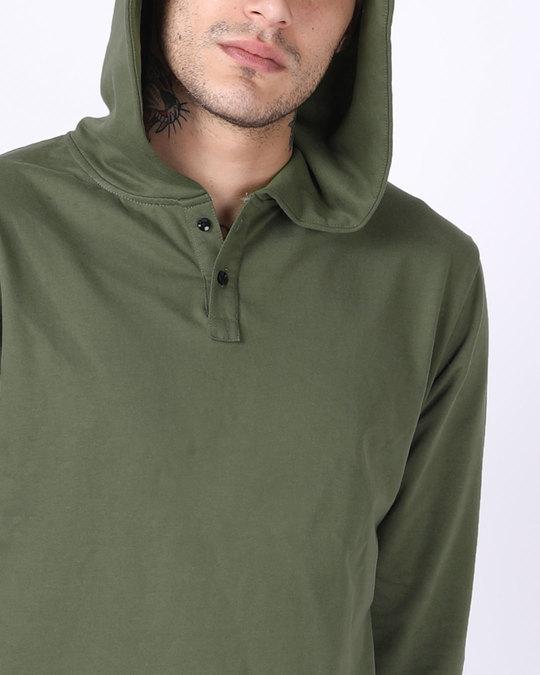 Shop Army Green Plain Henley Hoodies
