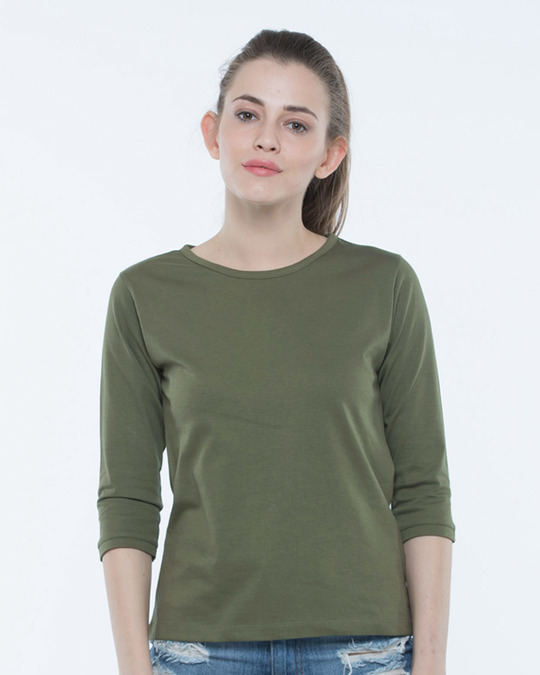 Buy Army Green 3 4th Sleeve T-Shirt Women s 3-4th T-shirt Online ... c36f6c6afc