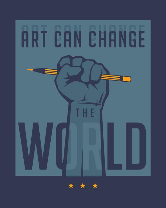 Shop Art Can Change The World Half Sleeve T-Shirt-Full