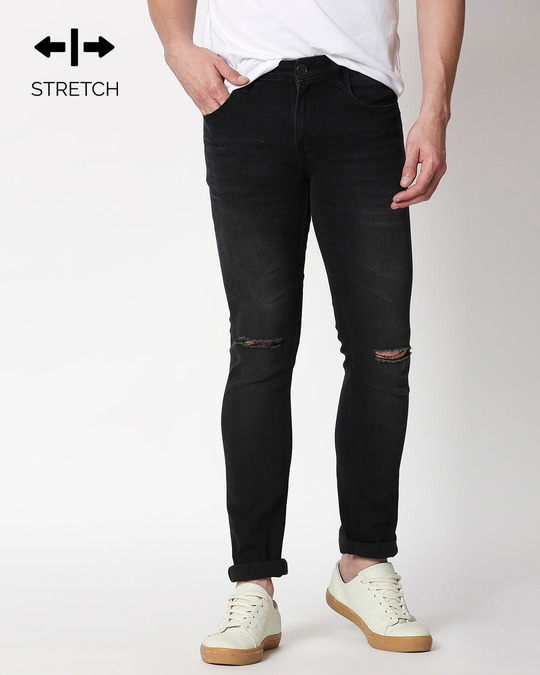 Shop Ash Grey Distressed Mid Rise Stretchable Men's Jeans-Front