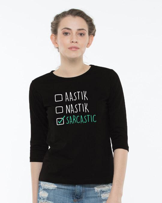Shop Astik Nastik Round Neck 3/4th Sleeve T-Shirt-Front