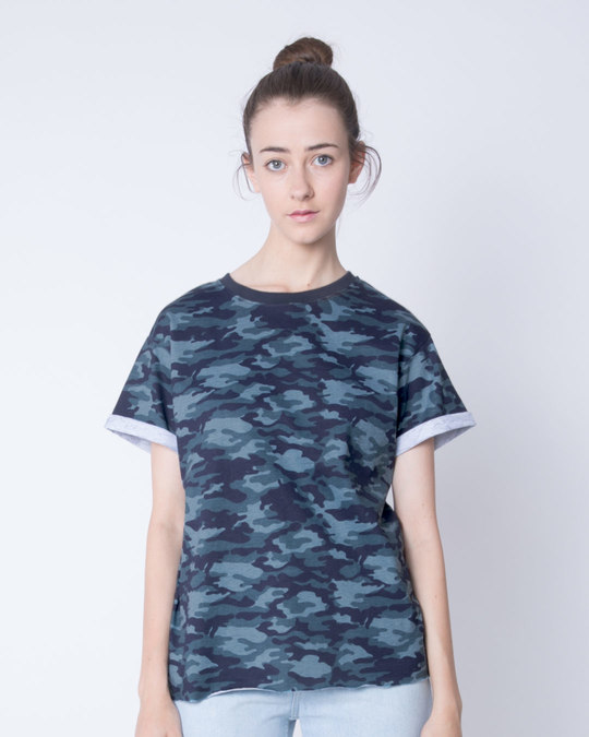 Shop Atlantic Blue Camouflage Boyfriend T-Shirt-Front