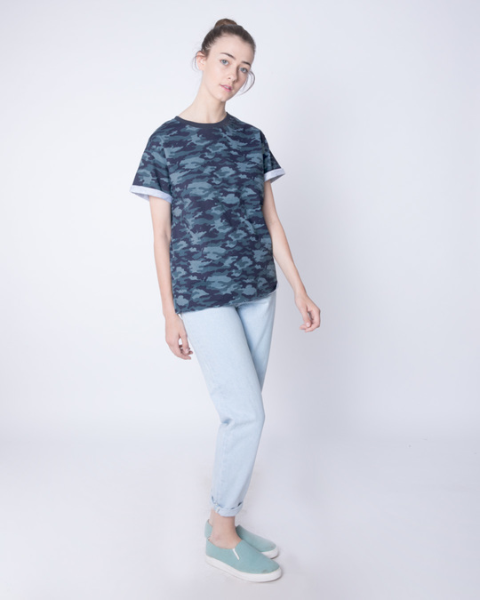 Shop Atlantic Blue Camouflage Boyfriend T-Shirt