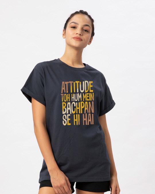 Shop Attitude Bachpan Se Hai Boyfriend T-Shirt-Back
