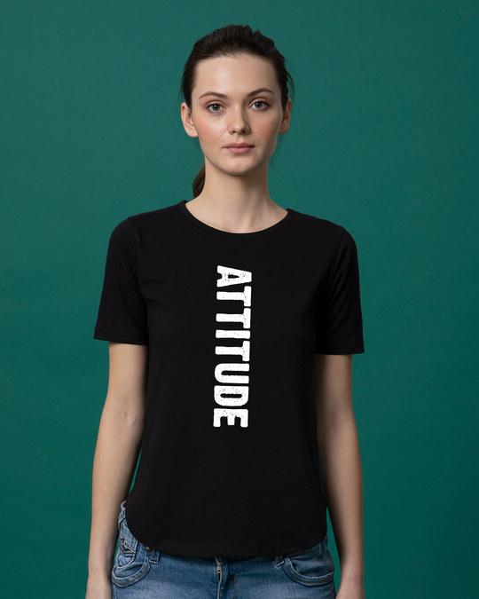 Shop Attitude Basic Round Hem T-Shirt-Front