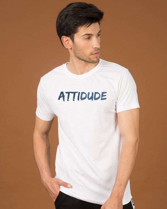 Shop Attitude Dude Half Sleeve T-Shirt-Front