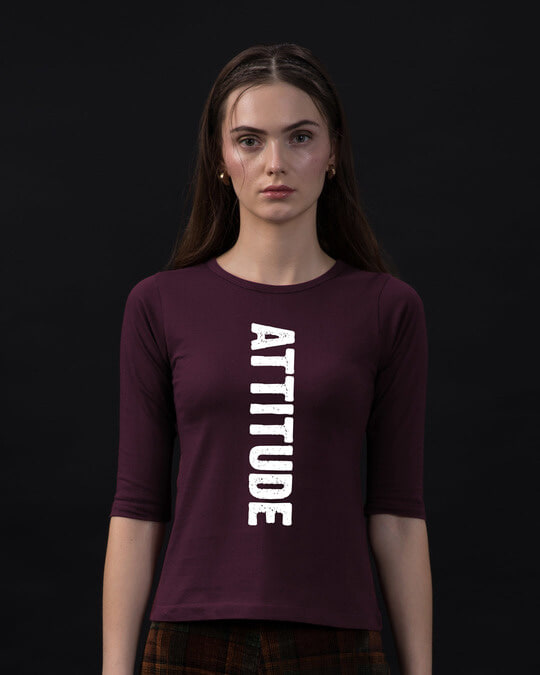 Shop Attitude Round Neck 3/4th Sleeve T-Shirt-Front