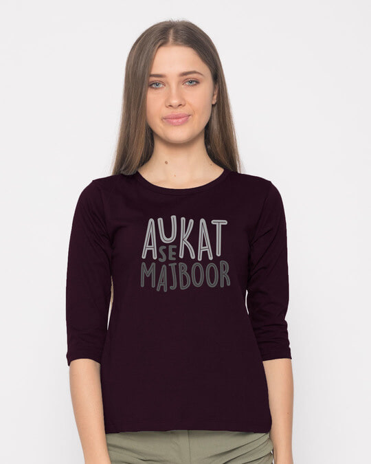 Shop Aukat Se Majboor Round Neck 3/4th Sleeve T-Shirt-Front