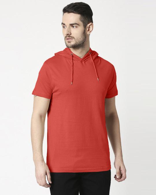 Shop Auro Red Half Sleeve Hoodie T-Shirt-Front