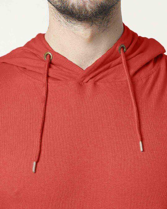 Shop Auro Red Half Sleeve Hoodie T-Shirt