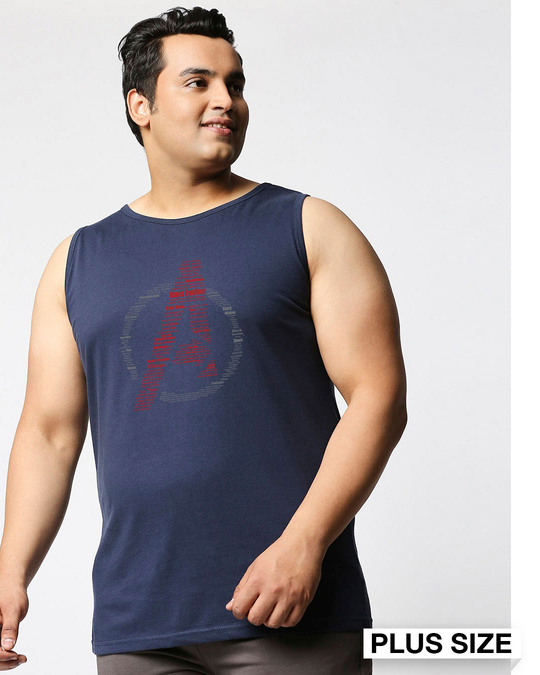 Shop Avenger All Star (AVL) Plus Size Round Neck Vest-Front
