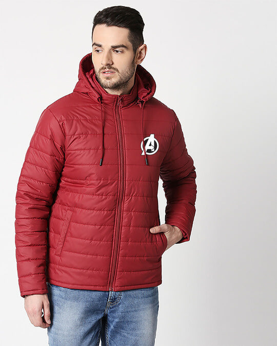 Shop Avenger Logo Puffer Jacket with Detachable Hood-Front