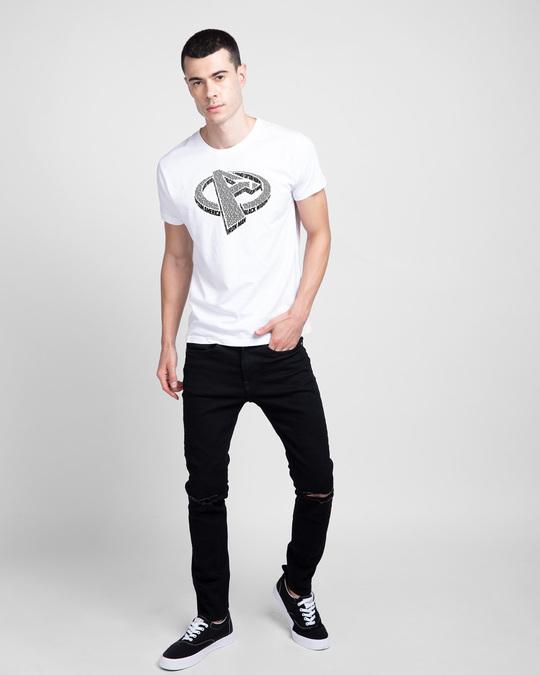 Shop Avengers 3D  Half Sleeve T-shirt  (AVL) White-Design