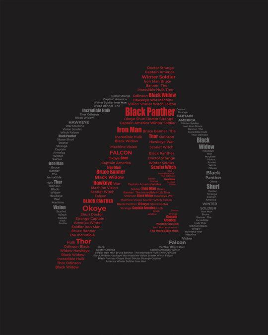 Shop Avengers All Stars Half Sleeve T-Shirt Black (AVL)