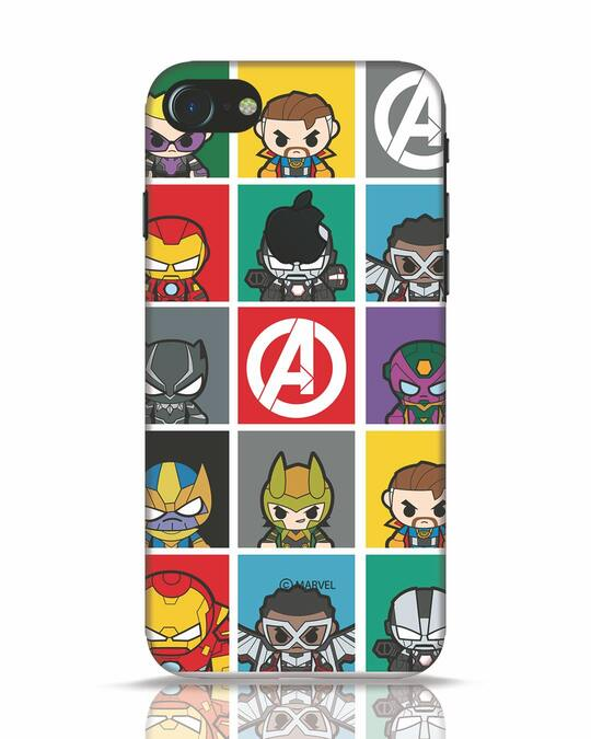 Shop Avengers Chibi iPhone 7 Logo Cut Mobile Cover (AVL)-Front