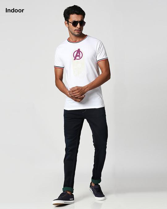 Shop Avengers circle - Sun Active Varsity Rib Half Sleeve T-Shirt