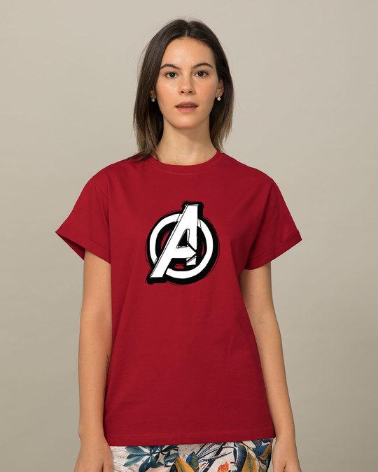 Shop Avengers Doodle Logo Boyfriend T-Shirt (AVL)-Front
