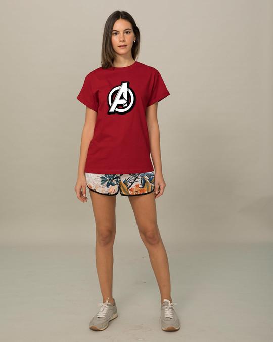 Shop Avengers Doodle Logo Boyfriend T-Shirt (AVL)-Full