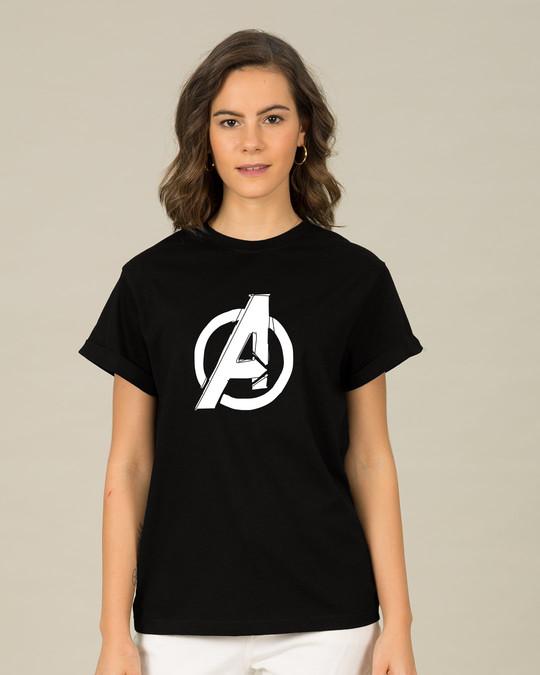 Shop Avengers Doodle Logo Boyfriend T-Shirt (AVL)-Back
