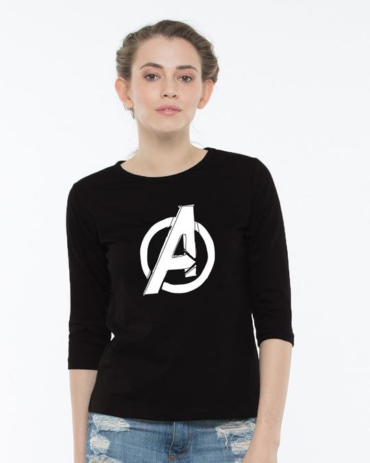 Shop Avengers Doodle Logo Round Neck 3/4th Sleeve T-Shirt (AVL)-Back
