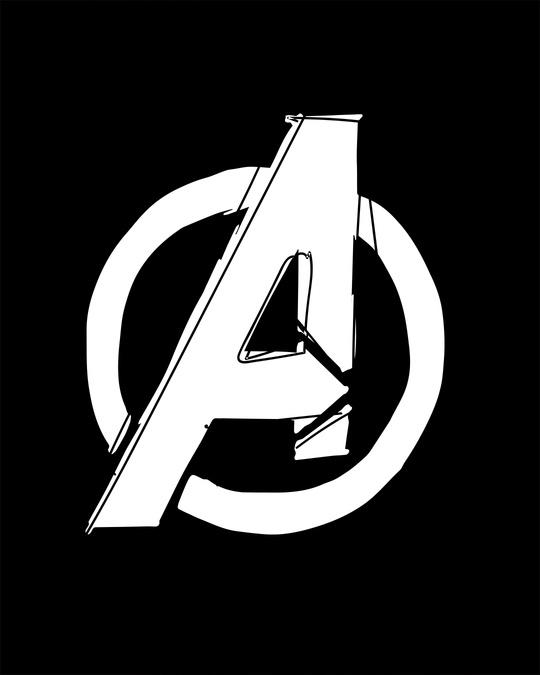 Shop Avengers Doodle Logo Round Neck 3/4th Sleeve T-Shirt (AVL)