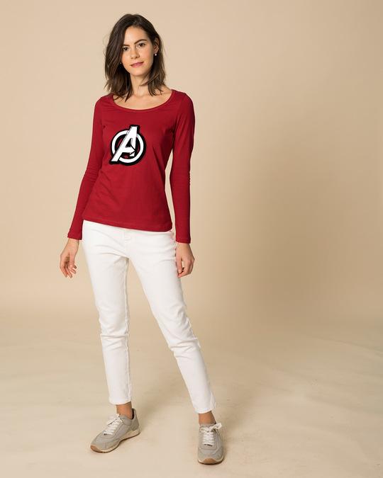 Shop Avengers Doodle Logo Scoop Neck Full Sleeve T-Shirt (AVL)-Full